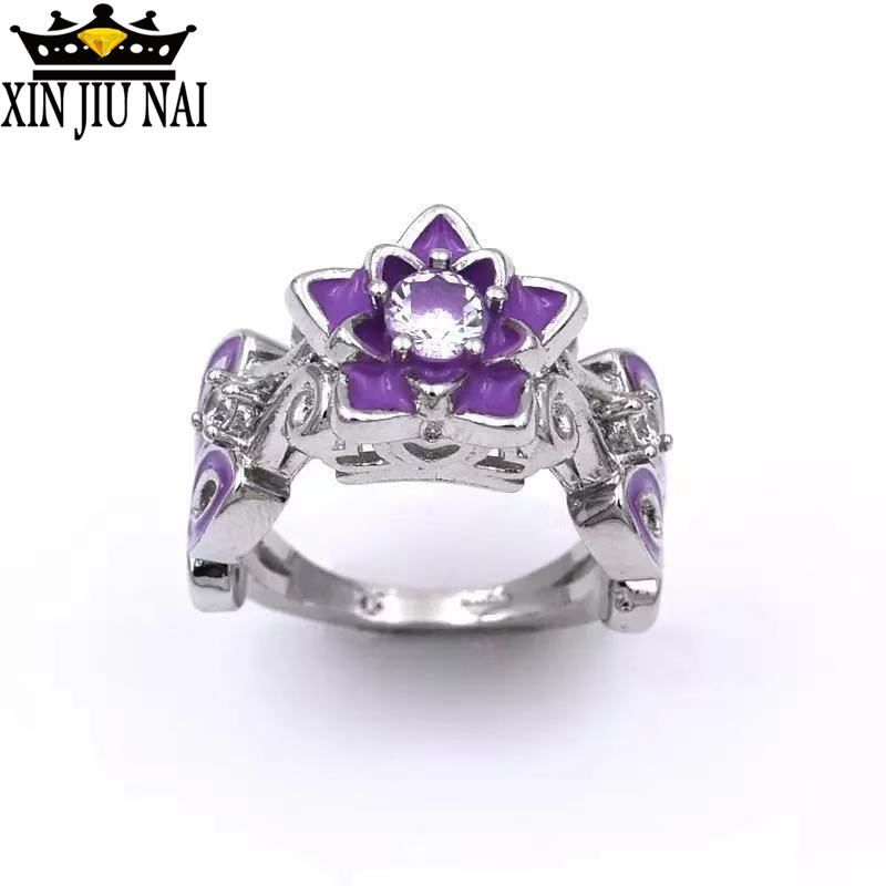 Elegant Lotus Flower Zircon Engagement Religion Ring For Women Unique Purple Enamel Wedding Rings Fashion Brand Jewelry Gifts