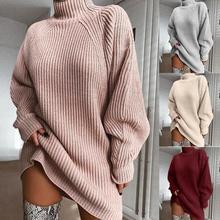 Fashion Women Sweater Winter Warm Turtleneck Long Raglan Sleeve Knitted Sweater Loose Midi Dress For Women's Clothings