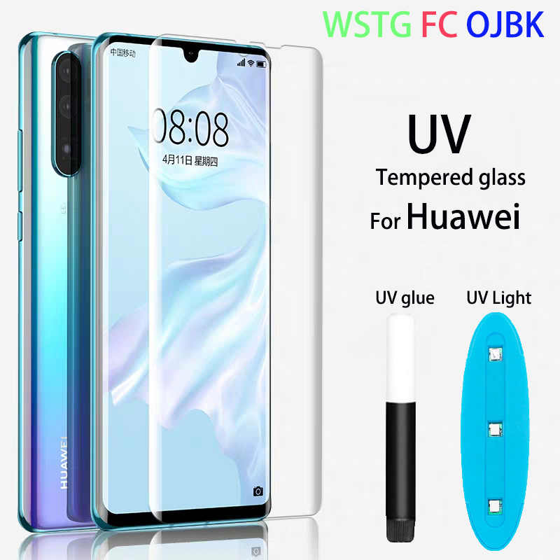 Clear Curved UV Liquid Full Glue Tempered Glass For Huawei P30 pro P30 P20 pro P20 lite Mate 20 pro Mate lite Screen Protector