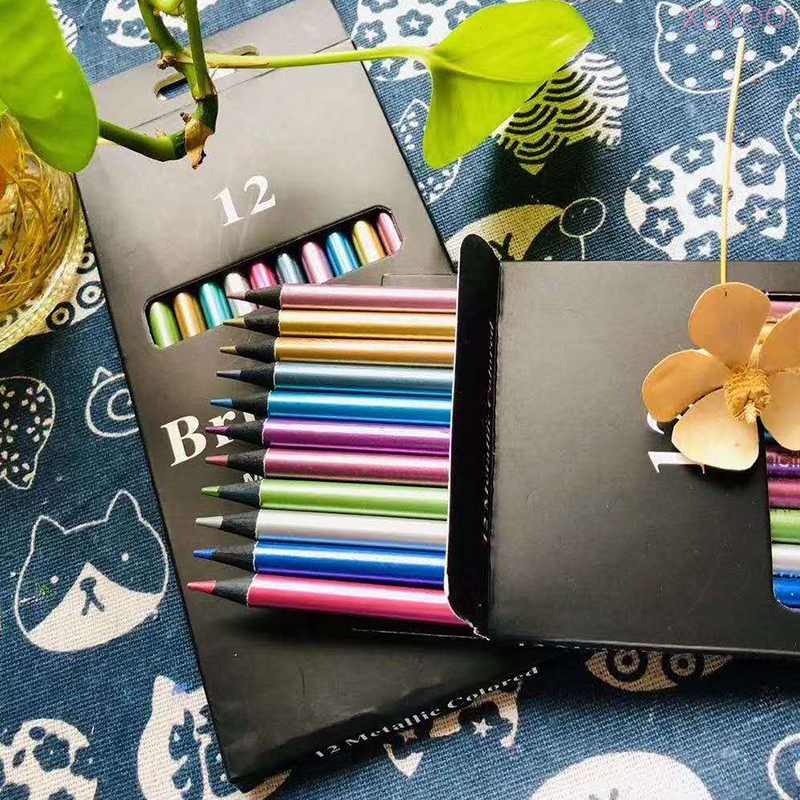 Lápis de cor dourada para a escola esboço pintura presentes brutfuner 12 pçs lápis de cor metálica|Lápis de cor|   -