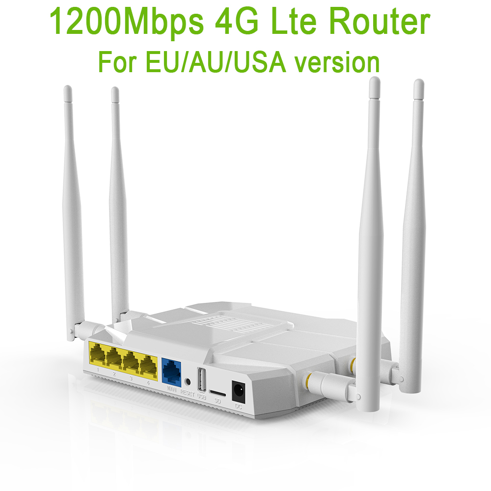 Wireless Router 4G Usb Modem Wifi 4G LTE Router 867Mbps WiFi Repeater 1200 Mbps 2,4 GHz/5 GHz 3G 4G Router VPN PPTP L2TP