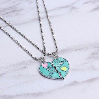 Nuevo collar colgante de mejores amigos, collar de Corazón Roto arco iris para mujeres, cadena de plata BFF, joyería de amistad
