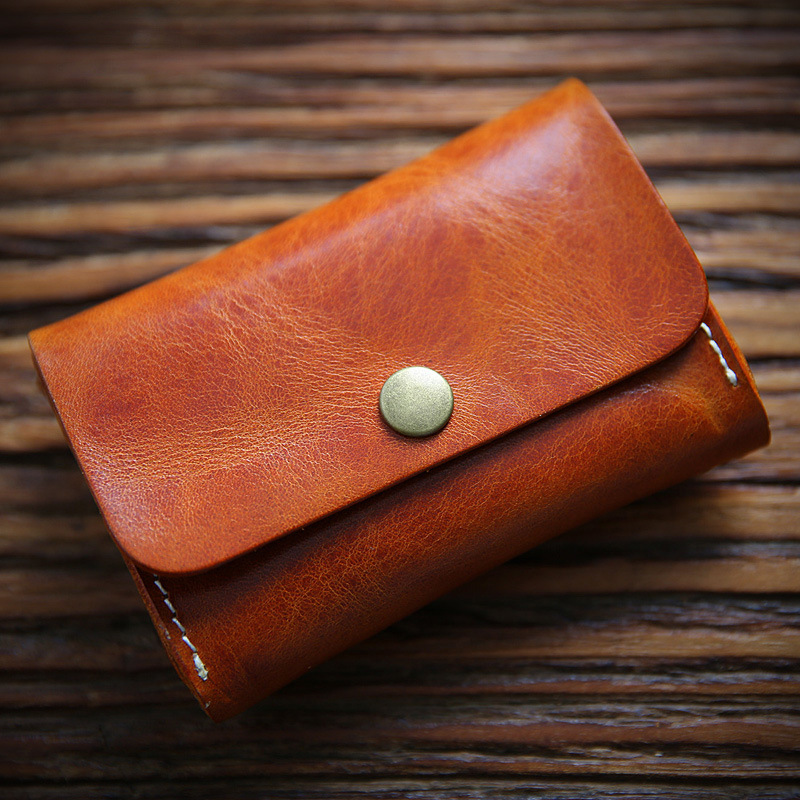 Handmade Vegetable Tanned Leather Business Card Holder Card Vintage Minimalist Wallet For Cards Cow Leather Credit Card Wallet