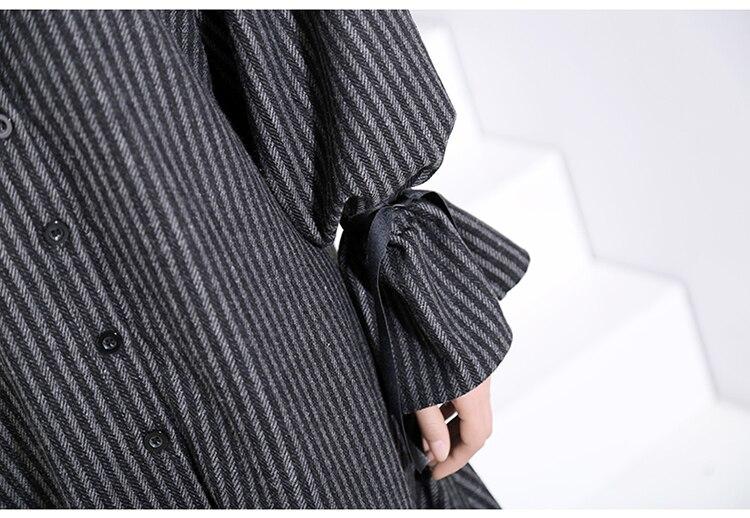 New Fashion Style Casual Black Striped With Tape Lapel Ruffles Hem Dress Fashion Nova Clothing