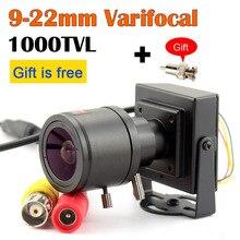 9 22mm עדשת Varifocal מיני מצלמה 1000tvl מתכוונן עדשה + RCA מתאם עבור אבטחת מעקבים טלוויזיה במעגל סגור מצלמה רכב עקיפה