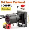 Lente de 9 22mm, Mini cámara Varifocal, lente ajustable de 1000TVL + adaptador RCA para vigilancia de seguridad, cámara CCTV, toma de coche