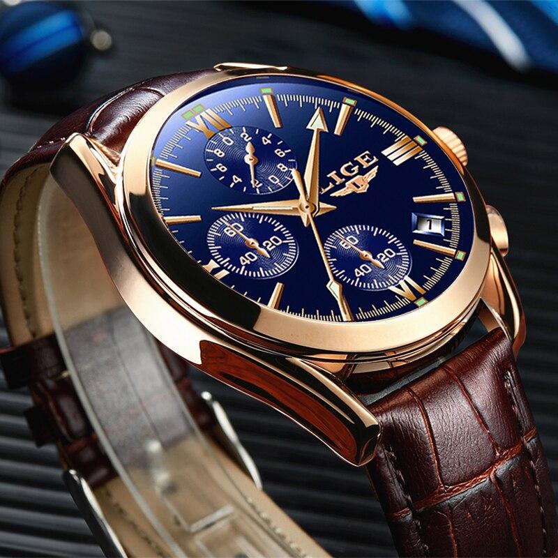LIGE Fashion Leather Watch Men Sports Quartz Clock Mens Watches Top Brand Luxury Waterproof Business Watch Relogio Masculino+Box