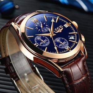 Image 1 - LIGE montre en cuir pour hommes, montre à Quartz de sport, marque de luxe, étanche, avec boîte