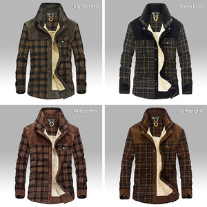 Image 4 - 2020 Mens Winter Warm Thick Fleece Casual Brand Good Quality 100% Cotton Plaid Shirt Man Thicken Army Grid Long Sleeve Shirts