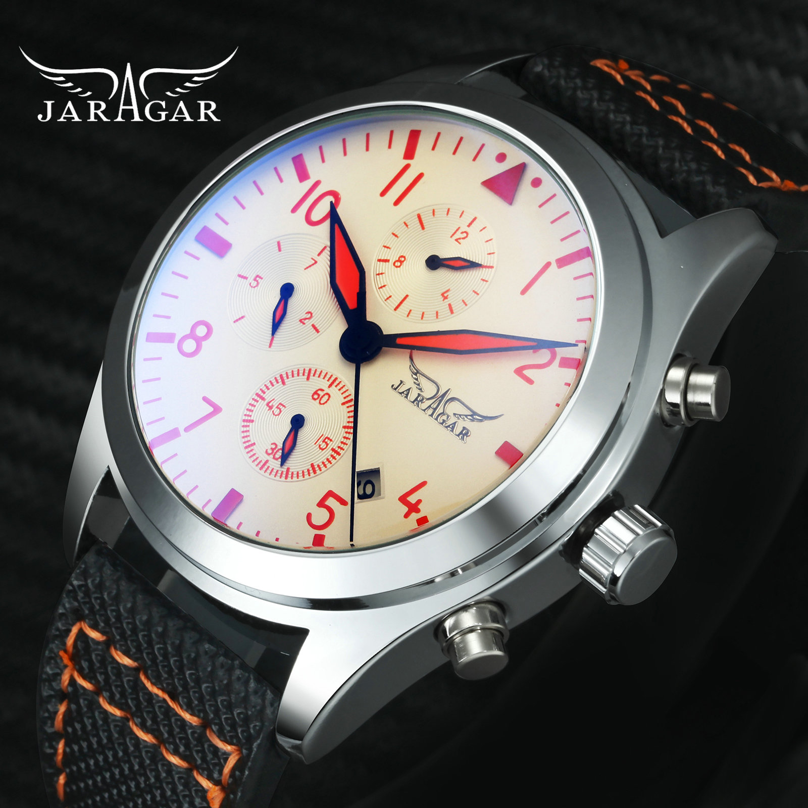 JARAGAR Men Mechanical Watch Blue Coated Glass Leather Band Working Sub-dials Arabic Number Dial Top Fashion Men Auto Wristwatch