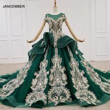 HTL1133 green evening dress lebanon o neck short sleeve appliques beads ball gown womens long evening gowns dubai vestido longo