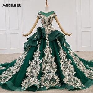 Image 1 - HTL1133 green evening dress lebanon o neck short sleeve appliques beads ball gown womens long evening gowns dubai vestido longo