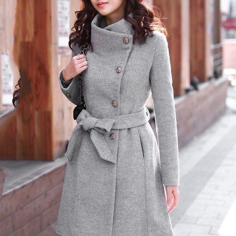 Womens Woolen Parka Warm Mid Long Casual Trench Belt Loose Lapel Jacket Overcoat