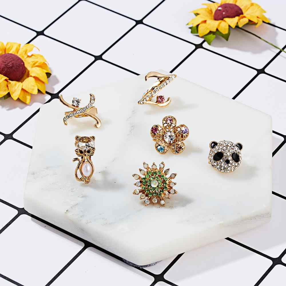 Women Girls Charm Letter Z X Cat Panda Snowflake Pearl Rhinestone Small Brooch Crystal Banquet Dress Scarf Suit Brooch Accessory