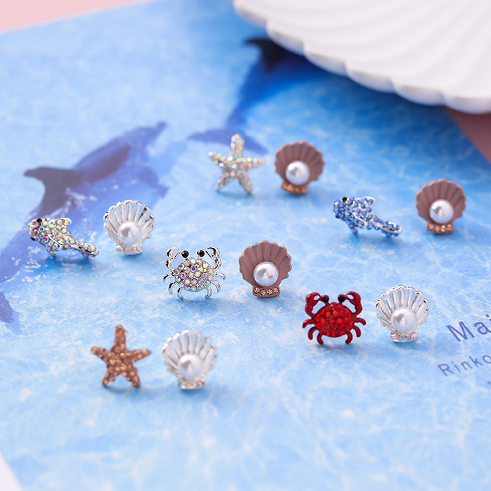 1 Pair Cute Mini Crab Shell Sea Star Stud Earrings Colorful Rhinestone Metal Dolphin Dangler Women Girls Kawaii Earrings Jewelry
