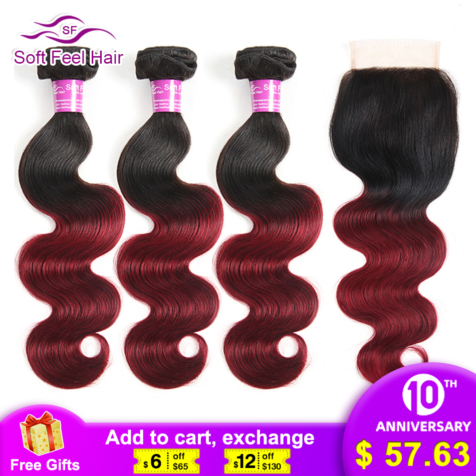 Soft Feel Hair Ombre Brazilian Body Wave 3/4 Bundles With Closure 1B/Burgundy Ombre Human Hair Bundles With Closure 99J Red Remy