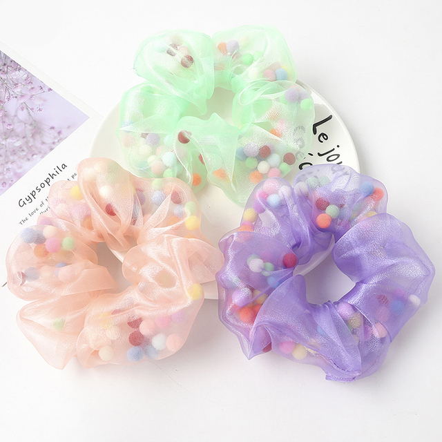 Details about  /Hot Organza Sheer Hair Scrunchies with Color Mesh Gauze Ball Hair Ring Hair Rope