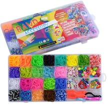 New 1500pcs Rainbow Rubber Bands Set Kid Multi-functional Classic Practical Funny DIY Toys Rainbow Woven Bracelet for Girl Gifts