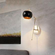 Настенное бра в скандинавском стиле лампа черного цвета со стеклянными