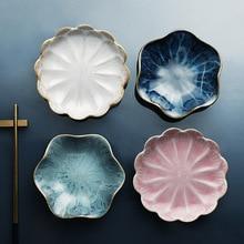 Elegant Fashion Japanese Dining Table Tableware Kiln Glaze Lotus Petals Ceramic Dishes Dish Snack Sauce Dish Small Plate salver