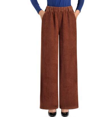 Corduroy pants for women plus size elastic waist new fashion loose wide leg pants casual capris female red black brown wmq2001