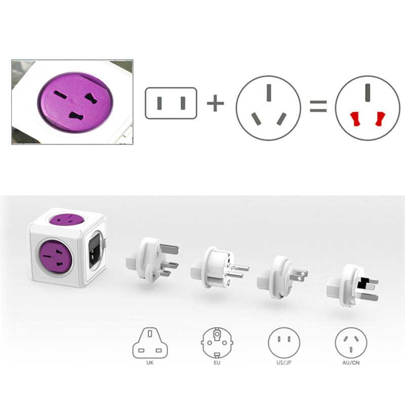Allocacoc Powercube na międzynarodowe podróże Adapter uniwersalny multi plug elektryczne gniazdo listwy zasilającej USB ładowarka do wielkiej brytanii ue AU USA