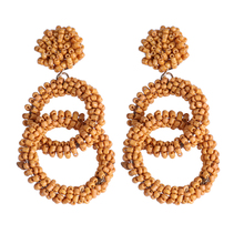 Fashion Bohemia National Style Seed Beads Circle Large Earrings Pendant Buckle Ethnic Earring forLadies jewelry