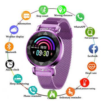 Frauen Smart Armband SL08 3D Diamant Glas Kalorien Herzfrequenz Schlaf Monitor Wasserdichte Intelligente Mode Smartwatch