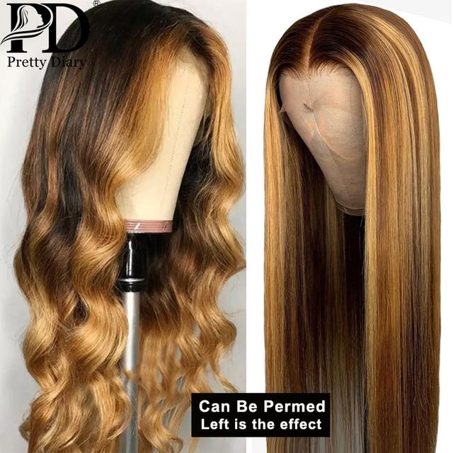 Peluca de cabello humano frontal sin pegamento, cabello liso destacado, cabello ombré, línea de cabello pre-desplumado, nudos blanqueados, pelucas de cabello Remy brasileño