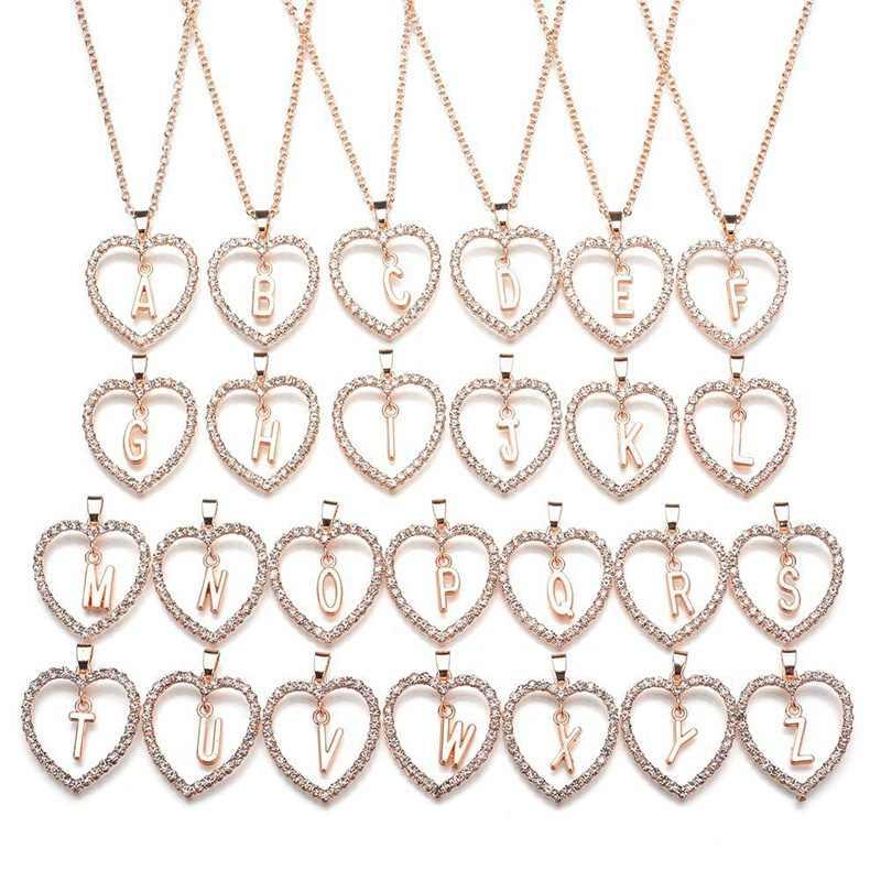 26 alfabeto inglés melocotón joya collar de corazón amor accesorios Drop Shipping niñas cumpleaños regalo amigo nombre iniciales X2