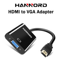 HANNORD HDMI naar VGA Adapter hdmi vga Converter Adapter 1080P HD Man-vrouw Adapter Video Audio Voor PC laptop Tablet TV Box(China)