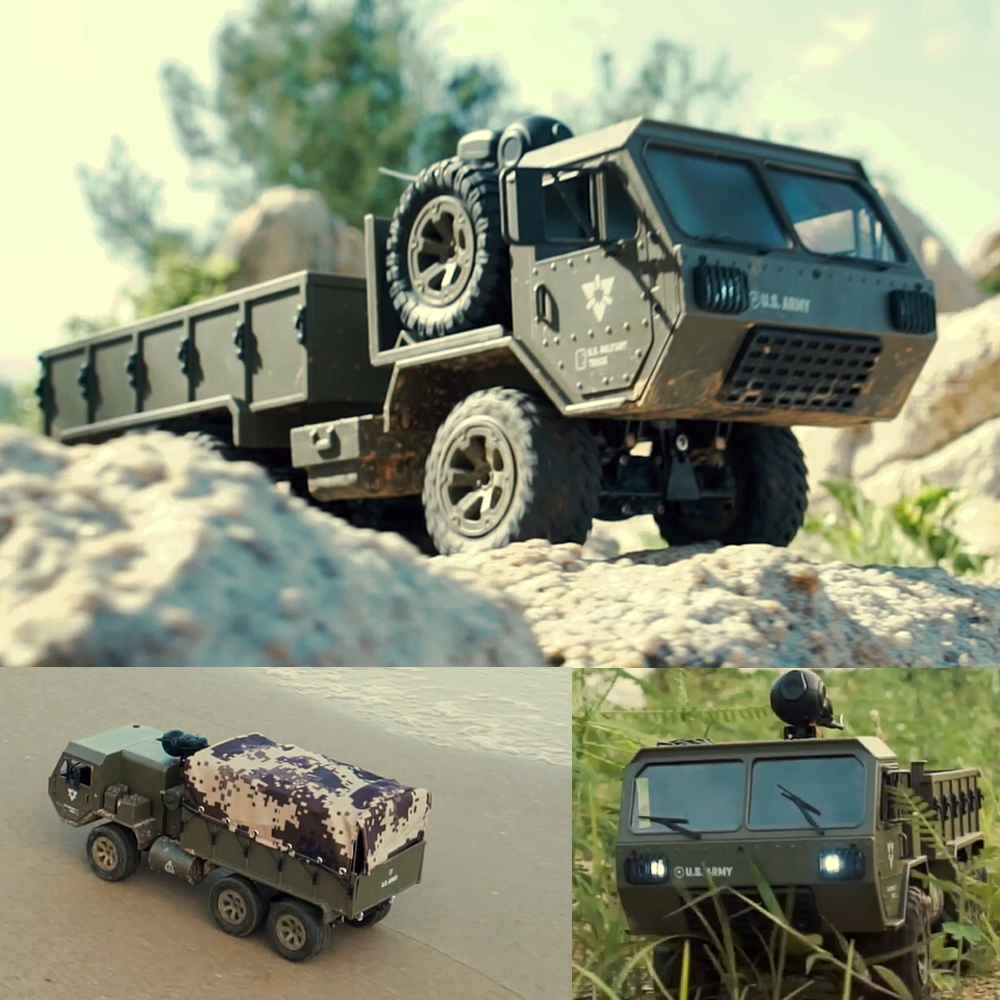 RC Trucks Remote Control Toys Six drive military card metal DIY modified model car 2.4G ABS/alloy army green kids children toy-in RC Trucks from Toys & Hobbies