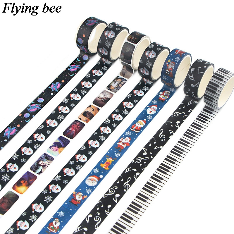 Flyingbee 15mmx5m Music Washi Tape Paper Adhesive Tape Stationery Space Masking Tapes Supplies DIY Christmas Decorative X0863