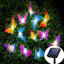 12 LED Solar Light Outdoor String Lights Butterfly Fiber Optic Fairy Solar Lamp Fairy Lights Waterproof Garden Night Lamp Decor