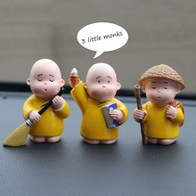 Cute Car Figurines 3Pcs/set Monk Doll Resin Dashboard Ornaments Vehicle Interior Accessories Home Decoration Crafts Modern Decor resin chef figurines retro chef model ornaments cute mini character people decoration home restaurant bar cafe decoration crafts