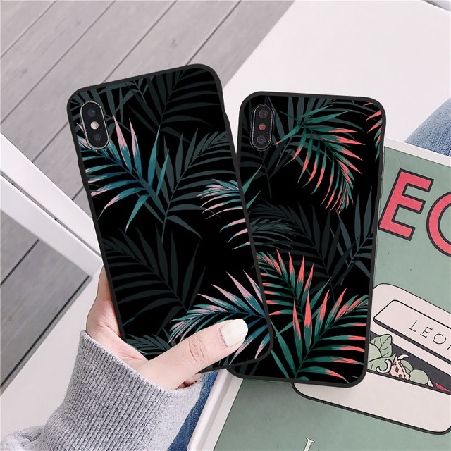 Hot Art  Banana Leaf Phone Case For iPhone 12 11 Pro Max XR XS Max 6S 7 8 Plus X SE 2020 Luxury Soft  Silicone Back Cover Cases 5