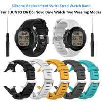 Silicone Replacement Wrist Strap Watch Band for SUUNTO D6 D6i Novo Dive Watch Two Wearing Modes #CO