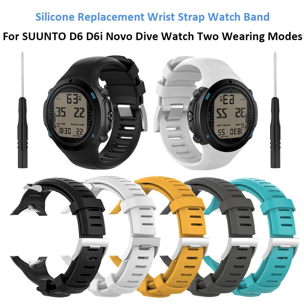 Substituição de silicone Wrist Strap Watch Band para SUUNTO D6 D6i Novo Relógio de Mergulho Dois Vestindo Modos # CO
