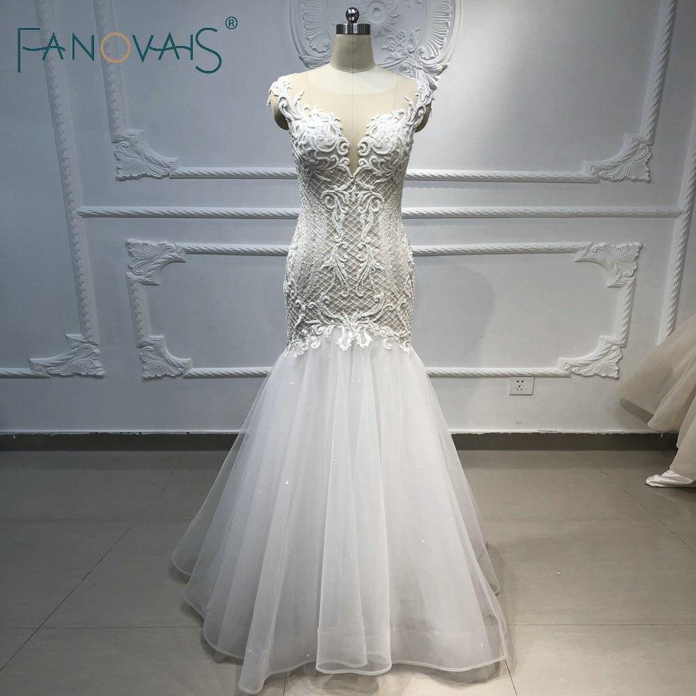 Mermaid Wedding Dresses Luxury Pearls Beads Elegant Wedding Gowns Bridal Gown 2019 Vestido De Novia  Robe De Mariage