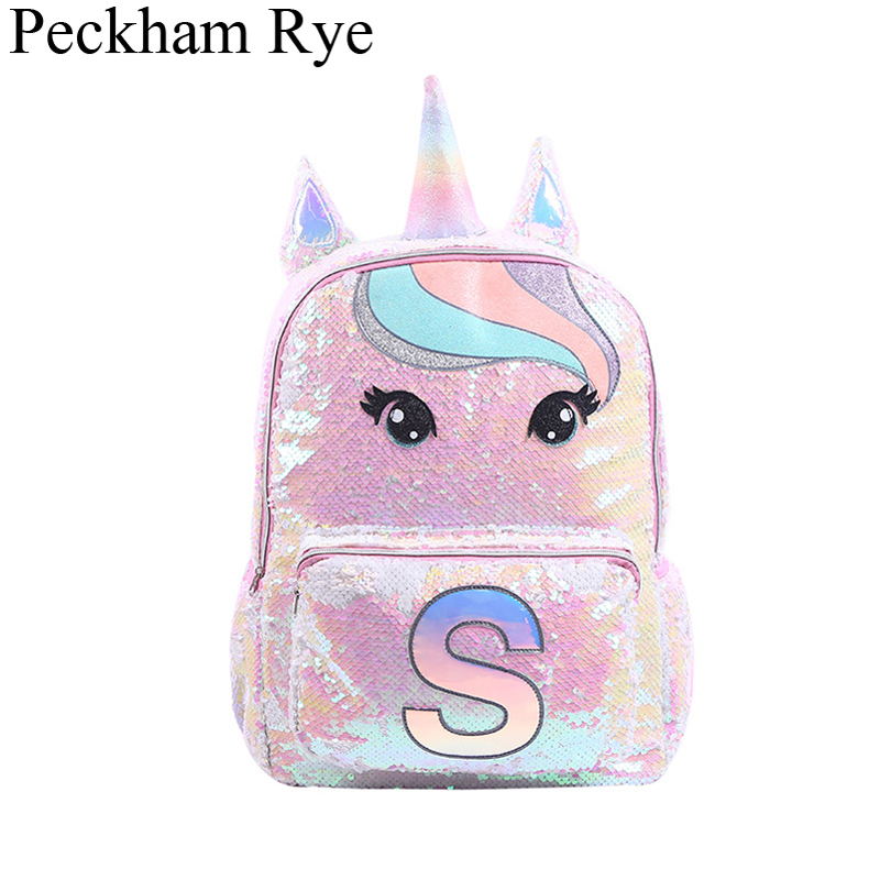 Sequin Unicorn School Bags Large Capacity Unicorn Backpacks For Girls Pink Mochila Escolar Children's Backpack Kids School Bags