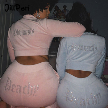 JillPeri Winter Velvet Crop Jacket and Tracksuit Joggers Two Piece Set with Diamante Rhinestones Jogging Suits for Women
