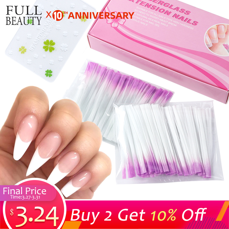 Fiber Glass Nail Extension For UV Gel Building French Manicure Acrylic Fiberglass Nail Forms Salon Tool Tips Accessory CH1013