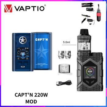 цена Original Vaptio CAPT'N Mod Vaping Box Vape Mod With Wall Crawler Frogman Kit 220W Electronic Cigarette NO 18650 Battery P3 Tank онлайн в 2017 году
