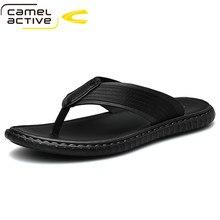 Camel Active 2021 New Leather Mens Flip Flops Comfortable Slippers Summer Sandals Men Shoes Breathable Flats Pantuflas Hombre