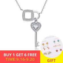 цена на XiaoJing Romantic 925 Sterling Silver White CZ Key of Square Lock Chain Pendant Necklaces for Women Jewelry Party Gift Wholesale