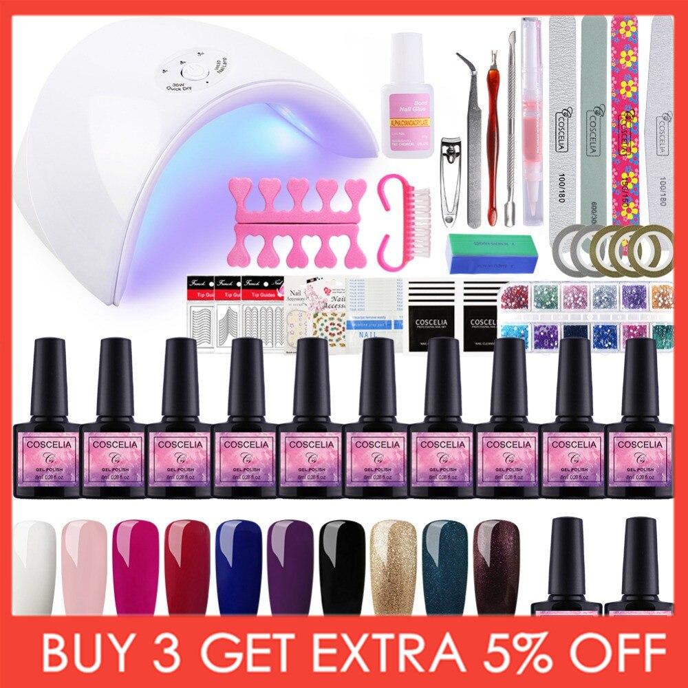 Set For Manicure Nail Kit Set Gel Varnish Set 6/10/12 Color UV Gel Polish 36/80W LED Lamp Gel Varnish Nail Polish Set UV Machine