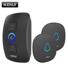 KERUI פעמון אלחוטי עמיד למים מגע כפתור LED אור אלחוטי חכם בית דלת בל פעמון ערכת עם 32 פעמוני דלת פעמון מעורר