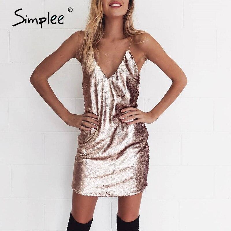 Simplee Tiefem v-ausschnitt backless sexy kleid Pailletten bodycon club party kleid Herbst winter riemen frauen kleid vestidos damen kleider