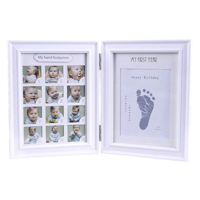 Newborn Hand And Foot Print Mud Baby Hundred Days Full Moon Age Growth Commemorative Photo Frame  Creative Parent Gifts