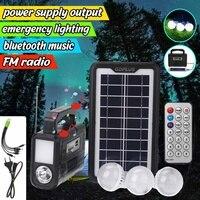 Solar Generator Portable 4500mAh Outdoor Solar Power Panel LED Lighting System with Bluetooth Radio FM speaker Usb TF card port